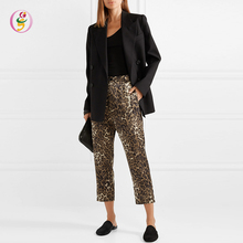 Fashionable 2019 Summer <strong>Women</strong> Vintage Leopard-Print Cropped <strong>Pants</strong>