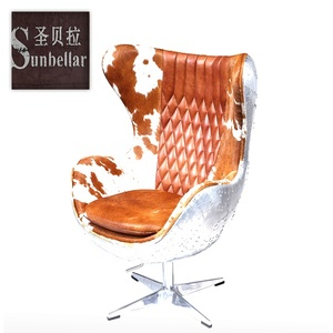 New type aircraft aluminum cover egg chair aviator with full genuine leather