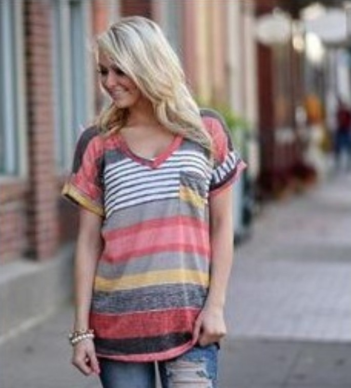 Women Summer <strong>V</strong> Neck Casual Cotton-blend Color-block Stripes T-Shirt
