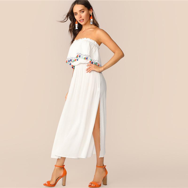 new product a0135 2871d Großhandel langes weißes sommerkleid trägerlos Kaufen Sie ...