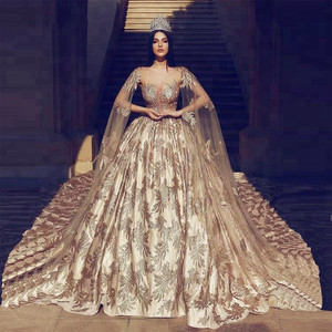 Luxury Pakistani Bridal Dresses Ball Gown Bridal Gowns 2019 Print Satin Wedding Dresses With Bridal Cape Muslim Wedding Gowns