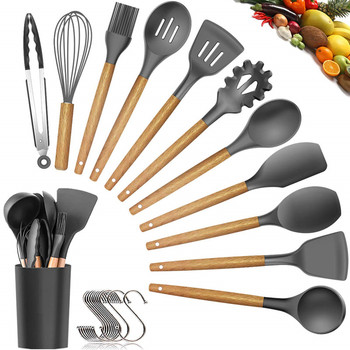 2019 Hot sale 11 piece silicone kitchen Utensils cooking tools set with wood handle