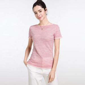 Woman silk cashmere spring autumn sexy knit short sleeve pullover sweater