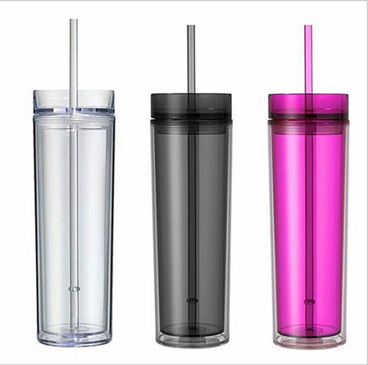 Acrylic 16 oz water tumbler double wall tumbler skinny colorful tumbler with straws Plastic tumblers bottles фото