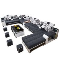 Factory wholesale fabric U shaped sectional sofa, modern European style washable living room sofa set