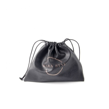 Hot Selling Black Faux Pu Jewelry Bags Drawstring Leather Cellphone Protect Pouch