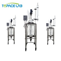 Easy Operation Double Layer/walled Glass Chemical Reactor 10l 20l 30l 50l 100l 200l