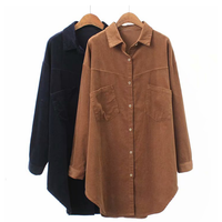 Spring Stand Neck Long Sleeve Office Long Corduroy Shirt for Women