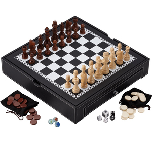 Custom antique engraved wooden backgammon checker chess piece set with chess table for adult and kids game
