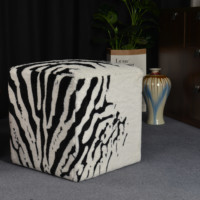 Zebra Animal Ottoman Footstool Coffee Table Sofa square Bench for Living Room