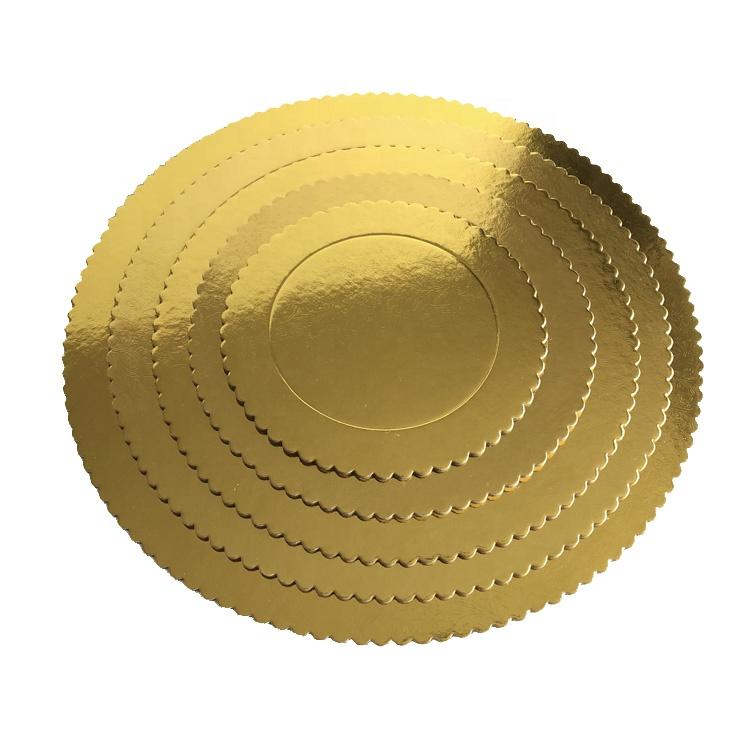Paperboard golden big size scalloped round shape foil cake board for wedding