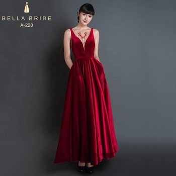 1ce86adc05f 2019 red velvet long sexy ladies ankle-length backless evening gown