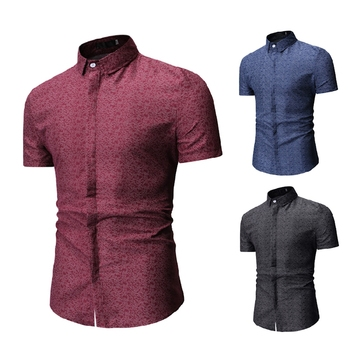 Factory  Wholesale  Satin Rayon  Cotton  Short Sleeve  Men Beach  Shirts T Shirts
