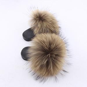 Wholesale kids  Multicolor Fox Fur Slippers Raccoon fur indoor  Slides outdoor sandals for kids