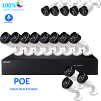 LOOSAFE 16CH 2MP Warm light voice recording security camera system poe outdoor full color h.265x 1080p video camera surveillance