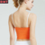 Wholesale OEM Fitness Workout Crop Top with Removable Pads Shiny Orange Womens Sports Bra Top