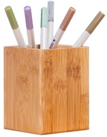 Bamboo Wood Desktop Pen Pencil Holder, Makeup Brush Cup, Office Supplies Organizer Caddy