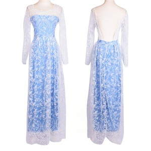 Women's Elegant Floral Lace Chiffon Dress Floor Length Women Full Sleeve Big Backless Party Dress