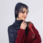 New Style Customized rose Floral lace with bead pearl hijab scarf with lace