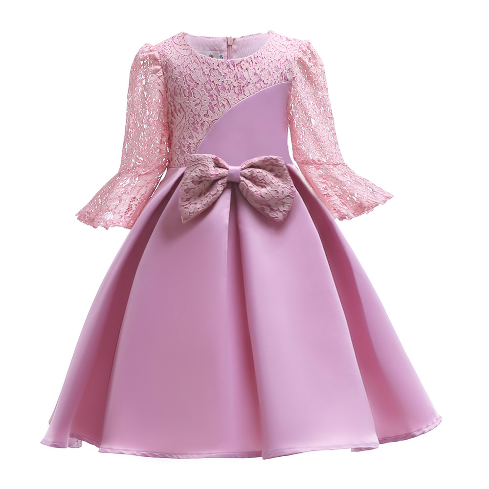 China Factory Directly Autumn Foreign Trade Children Lace Bow Knot Girl Princess O-Neck Dress