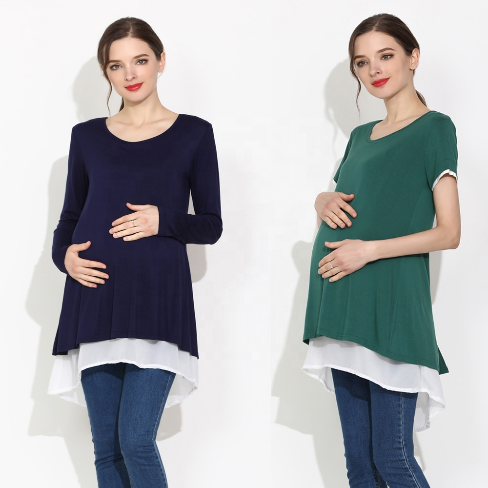 Emotion Moms Pregnant Women Clothing Long Maternity Tops for Pregnancy Breastfeeding Milky Nursing Shirts Plus Size Wear фото