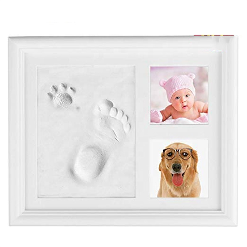 Newborn Girl or Boy diy photos imprint keepsake set baby handprint and footprint frame kit baby footprint and baby handprint kit