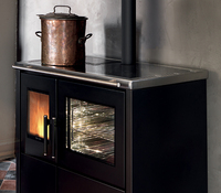 Easy to use steel wood burning pellet stove with oven for sale
