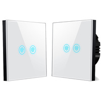 Tempered glass waterproof electrical LED touch smart 2 gang remote switch