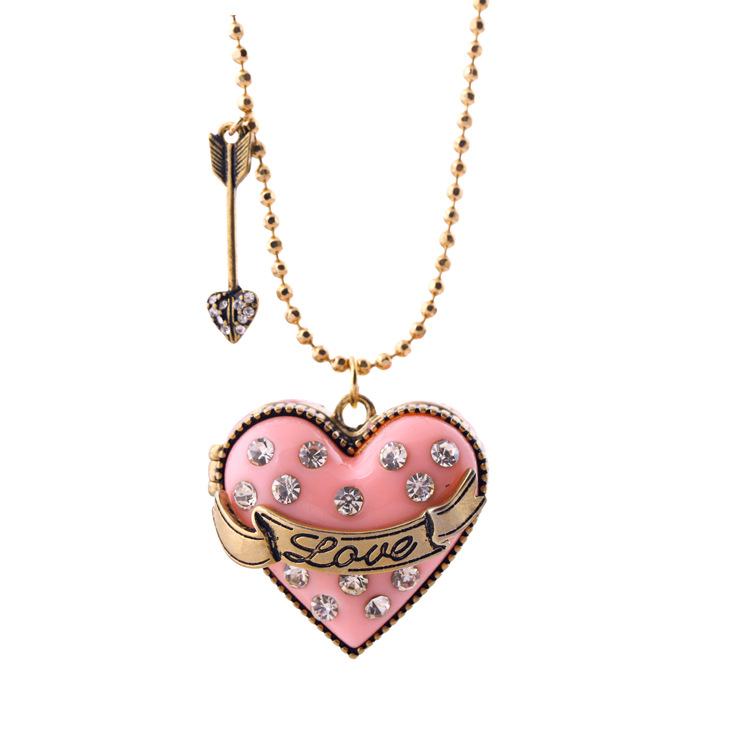 European And American Fashion Accessories Diamond Heart-Shaped Treasure Box Long Necklace