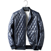Men tweed check pu leather warm slim solid color jacket with wholesale price