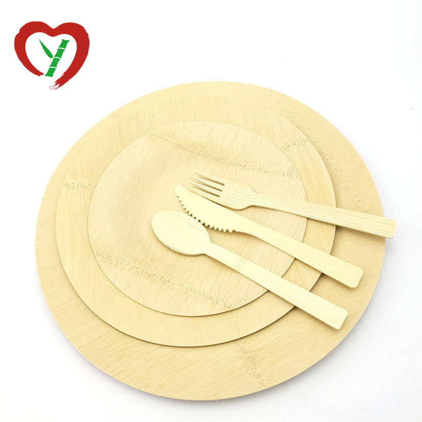 Cheap Round Custom Food Bamboo Plates Disposable Cutlery Sets