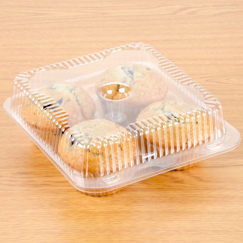 4 compartiment Clear OPS Scharnierende Cupcake/Muffin Container