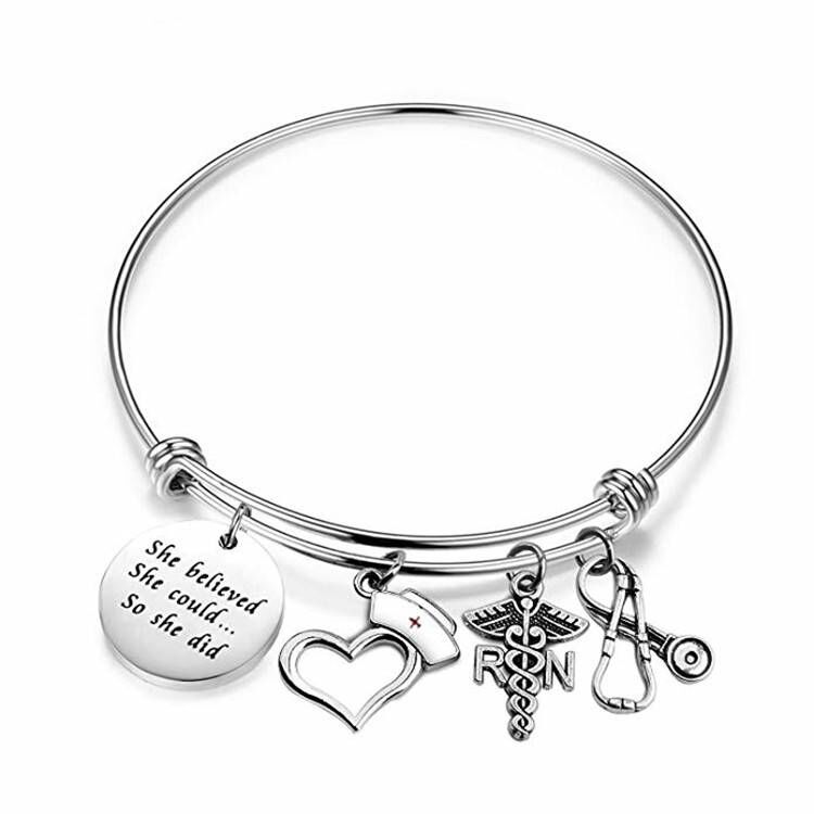 medical Silver metal RN angle wing/Stethoscope Bracelet Charms heart nurse hat Bangles Bracelets Jewelry, Many colors;as your requests