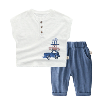 Wholesale 2019 car pattern 2 Pieces Baby Boy Clothes Set Baby Clothes for boys