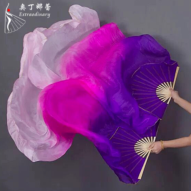 Stage Performance can customizable belly dance silk fan veil for adults and kids