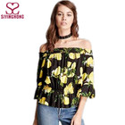 Top sell latest fashion design long sleeve casual ladies floral cotton blouse