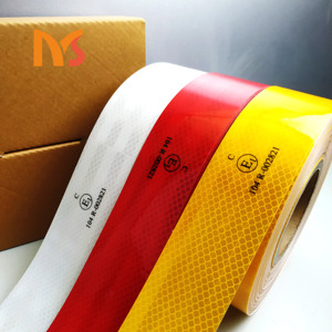 Manufacturer custom printed low price high quality and visibility white red yellow conspicuity reflective tape for bias vehicle
