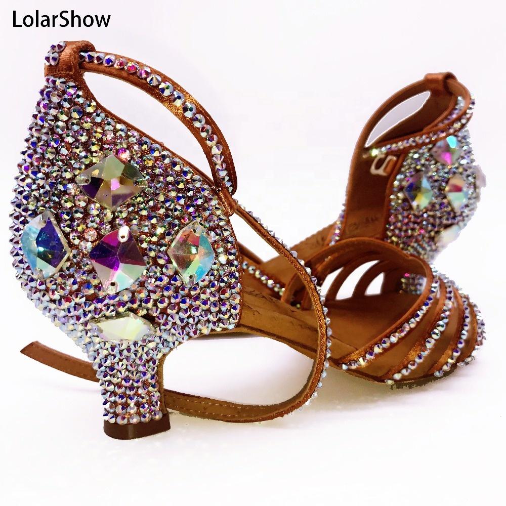 Chaussures de danse latine pour salle de bal pour femmes, strass, chaussures de Tango Salsa, talons 3.5/4.5/5.5/7.5 cm pour filles, chaussures de danse pour femmes