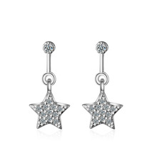 Factory Direct 잘 팔리는 Real Gold Plated Drop Cubic 지르코니아 합성 문 Earring 오각형 스타 (energy star) 펜 던 트 귀걸이 Women