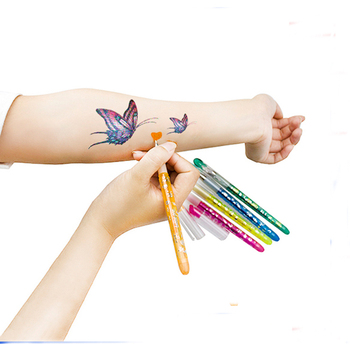 Temporary Glitter Color Body Skin Art Pen Washable Tattoo Skin Pen With Tattoo Stencil For Drawing On Skin Buy Tattoo Skin Marker Pen Temporary