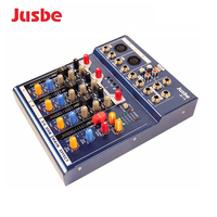 Professional JB-T4 2019 Mini 4 Channel Music Console Power Mixer with USB Bluetooth