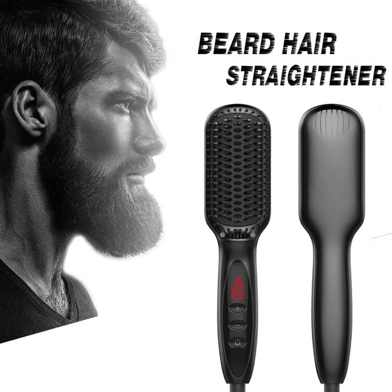 Latest Style Quick Beard Straightening Brush Electric Nagative Inos Straightening Beard Comb Custom Logo Hair Straightener фото