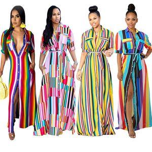 Casual turndown collar short sleeve color striped printed long shirt dress