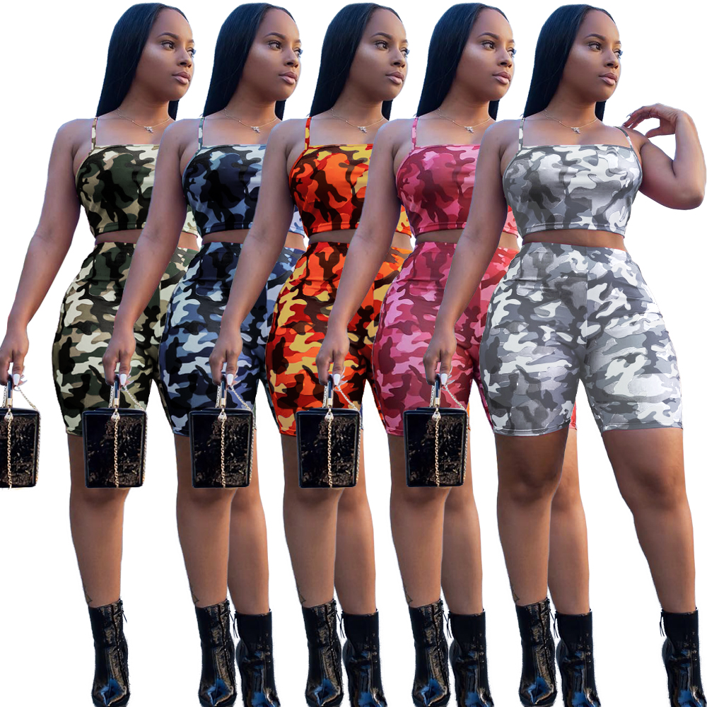 2019 Fashion Camouflage Army Crop Top En Shorts Twee 2 Delige Set Outfit Vrouwen Zomer Kleding