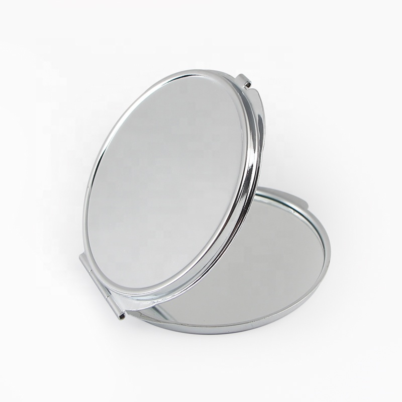 Quality Assured Double Side Round Custom Silver Metal Cosmetic Mirror
