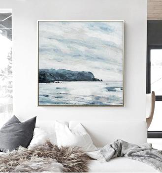 Ready to ship Black White Grey Abstract Seaside Oil Painting Modern Art Print with Frame