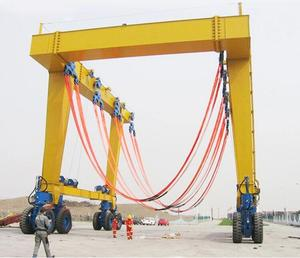 China 50/80/100/150/200 tons remote control container mobile garage gantry crane specification with wheels