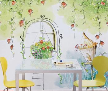 Desainer Wallpaper Kartun Karakter Taman Wallpaper Kopi Toko