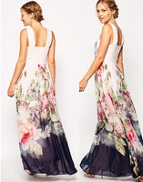 F20288A digital printed evening dress with floral straps for foreign trade women for women