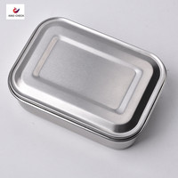 OEM factory custom printed rectangular air tight picnic camping metal bento lunch box stainless steel crisper food container